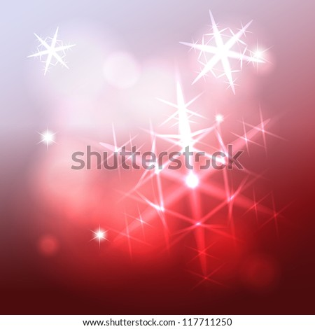 Shining snowflake christmas star over blurry wine colorful background