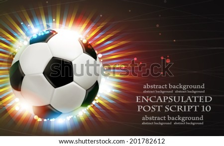 Shining soccer ball on abstract  background with fireworks.  Abstract soccer background.