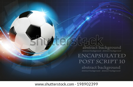 Shining soccer ball on abstract  blue background with lights and sparks.  Abstract soccer background.