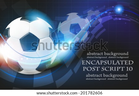 Shining soccer balls on abstract  blue background with lights and sparks.  Abstract soccer background.