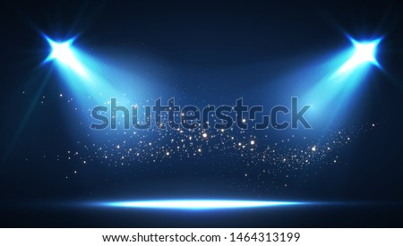 Shining spotlights and empty scene. Elegant promotion design template. Ad, theater, show, big win, gambling and so on.