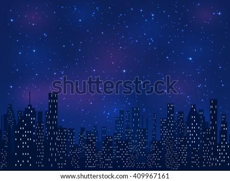shining stars on blue sky