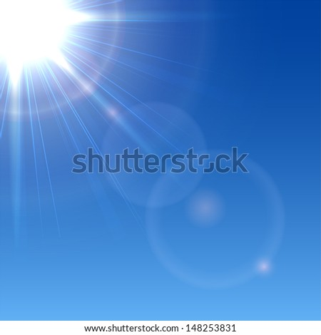 Shining Sun in a blue sky, illustration.
