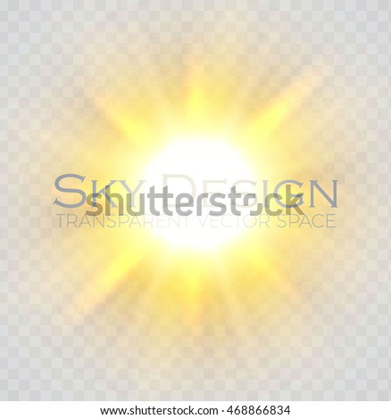 shining sun transparent vector