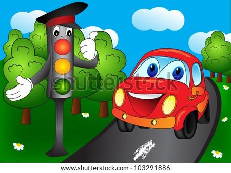 shining traffic light and car