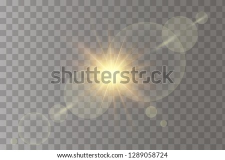 Shining vector golden sun with colorful light effects. Flares and gleams rounded and hexagonal shapes, yellow glint