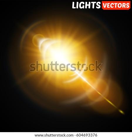 Shutterstock Shining vector golden sun with light effects.