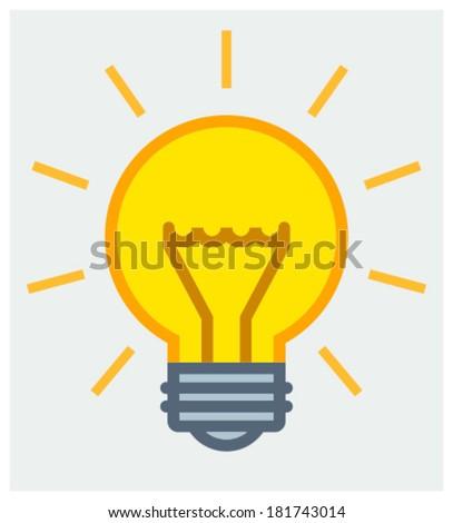 Yellow Light Bulb Icon Shining Yellow Light Bulb Icon