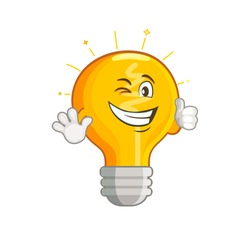 Shining yellow light bulb isolated on white background. Smiling lightbulb with funny emotion. Emoji on creative idea, inspiration symbol.Decoration for greeting cards, prints, badges, posters.Vector.