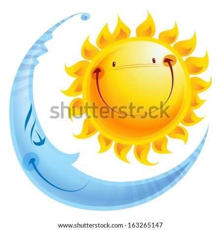 shining yellow smiling sun and