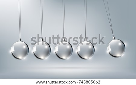 Shinny Glass Newtons cradle for design element, vector illustration