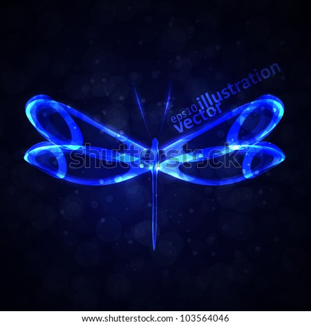 Shiny abstract dragonfly, futuristic colorful vector illustration eps10