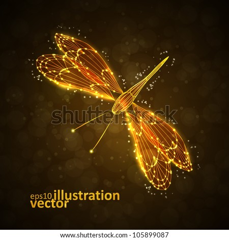 Shiny abstract dragonfly, technology energy vector illustration eps10