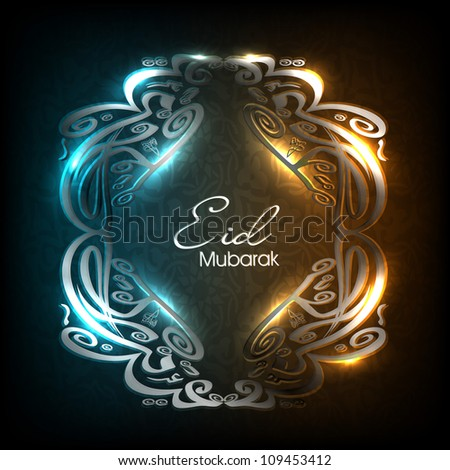Shiny Arabic Islamic calligraphy of text Eid Mubarak on creative colorful background. EPS 10.