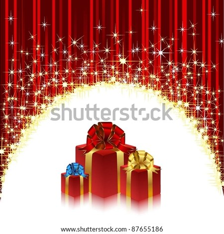 Shiny background with shooting stars and gifts. Vector.