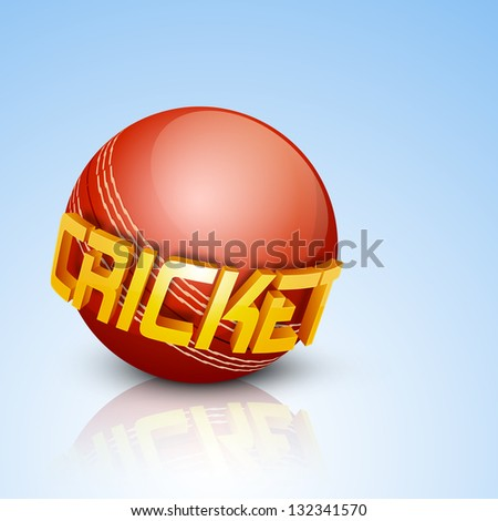Shiny ball with text cricket on blue background.