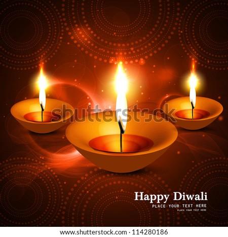 Shiny beautiful hindu diwali festival vector design