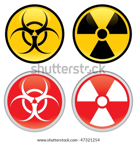 Shiny biohazard and radioactive warning signs and symbols.