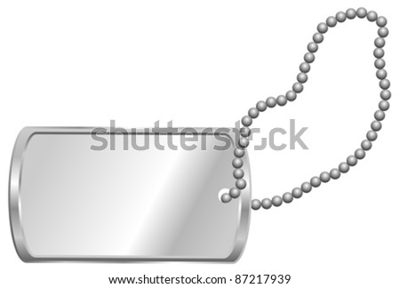 Shiny Blank Metallic Identification Plate - Dog Tag Isolated on White