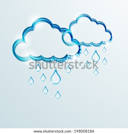 Shiny blue clouds and rain drops on grey background for Happy Monsoon.