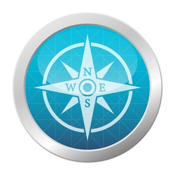 Shiny blue Compass icon.  Circle button navigation tool symbol, vector illustration.