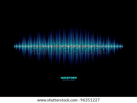 Shiny blue music waveform - stock vector