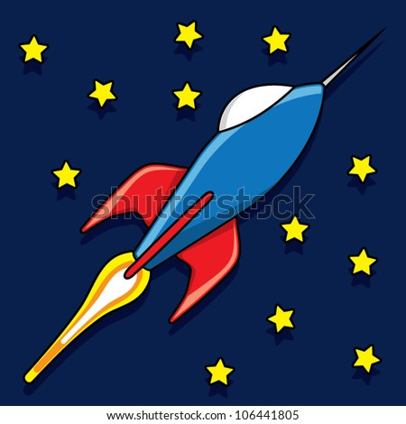 Shiny blue rocket with fire flame in the sky with stars, vector illustration