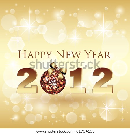 Shiny Bokeh New Year Celebration Card - Vector