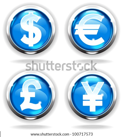 shiny bright button with the Currency . File is saved in AI10 EPS version. This illustration contains a transparency