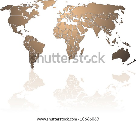 World continents map vector download free vector art stock shiny bronze world map each country is a separate shape and named by the country gumiabroncs Images
