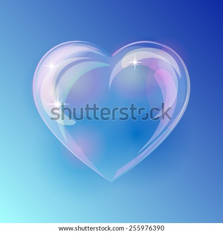 shiny bubble heart on blue