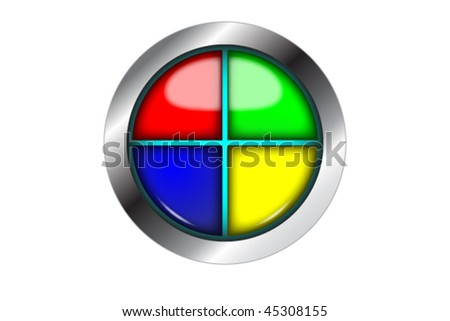 shiny button divided in four different colors