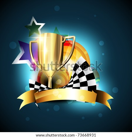 shiny champion trophy vector design