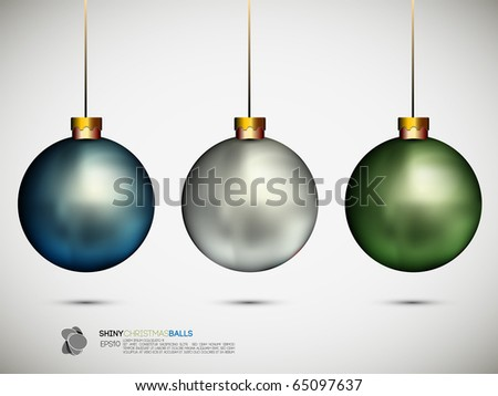 Shiny Christmas Balls   Vector Illustration