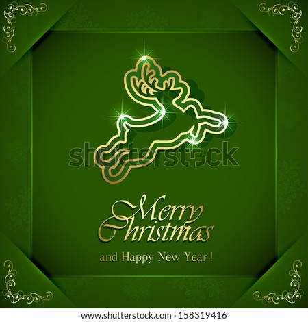 Shiny Christmas deer on green background with floral elements in corners, illustration.
