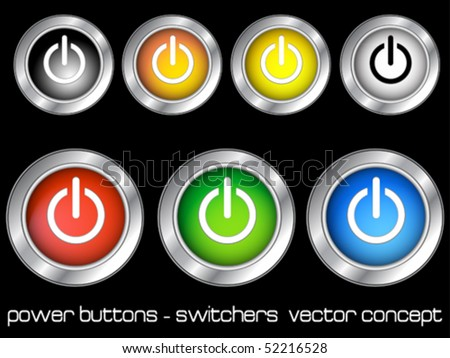 shiny color power buttons isolated on a balck background