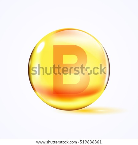 Shiny colored bowl with letter b, vitamin b, yellow capsule. Yellow bubble, realistic vector illustration