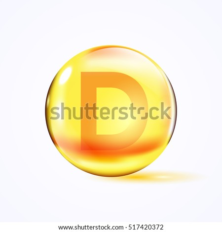 Shiny colored bowl with letter d, vitamin e, yellow capsule. Yellow bubble, realistic vector illustration