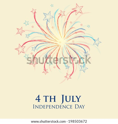 Shiny colorful fireworks on vintage brown background for 4th of July, American Independence Day celebrations.
