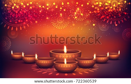 Shiny colorful floral background with illuminated 3D Oil Lamps (Diya) for Diwali celebration.
