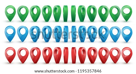 Shiny colorful metal realistic map pointers vector set in various angles. Map pointer 3d pin. Location symbols.