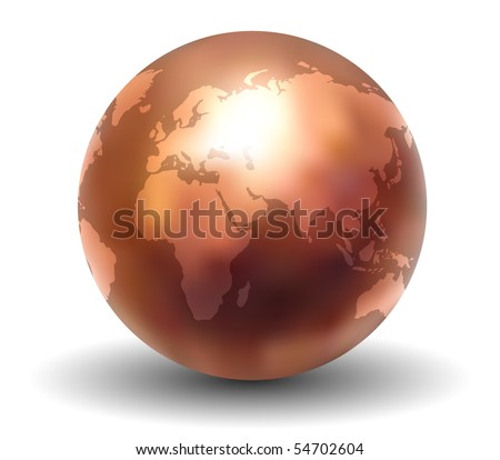 Shiny Copper Earth Globe (Vector)