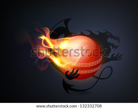Shiny cricket ball in flame.
