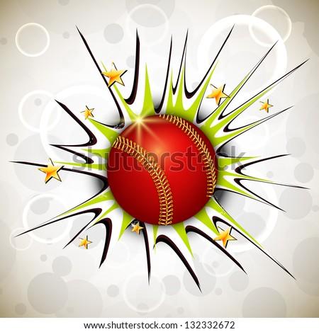 Shiny cricket ball on abstract background.