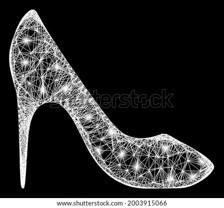 shiny crossing mesh high heel