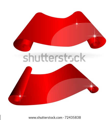 Shiny curvy red scroll paper with space for your copy, eps10 vector