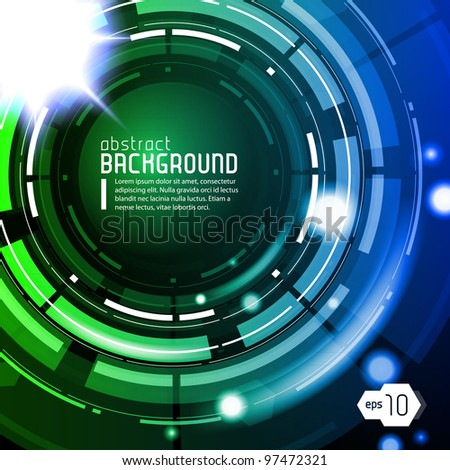 Shiny Dark Round Background Blue Green Blue EPS10