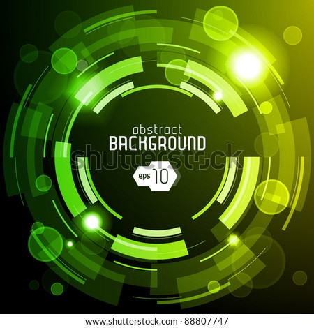 Shiny Dark Round Background 2: Green And Yellow - stock vector