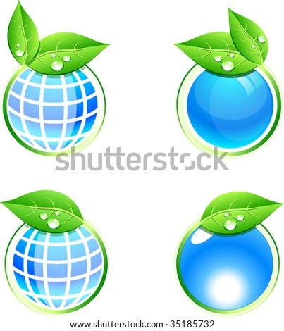 Shiny eco icons. Vector illustration. - stock vector