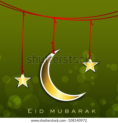 Shiny Eid Mubarak background with hanging golden Moon and Stars. EPS 10.